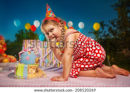 Confusion little girl in anticipation of the holiday  - stock photo