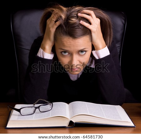 confusion woman be taken by surprise - stock photo