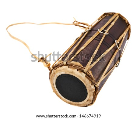 Conga percussion drum instrument isolated over white background - stock photo