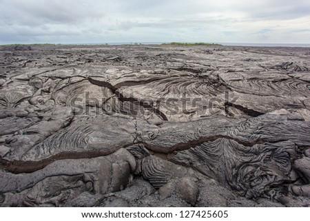 Congealed lava, Big Island, Hawaii - stock photo
