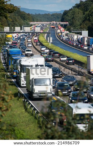 congestion on highway due to road-works No signs, logos, trademarks, personal rights or other infringements in the photo. All relevant parts are deleted - stock photo