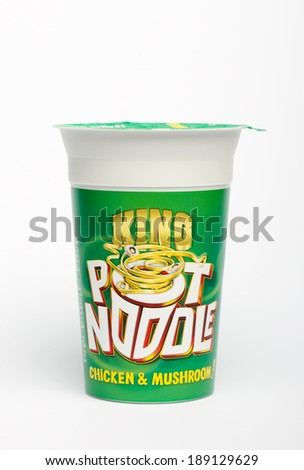 CONGLETON, UK - APRIL 25 2014: King size Chicken and Mushroom Pot Noodle snack  - stock photo