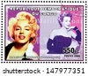 CONGO - CIRCA 2006: A postage stamp printed by CONGO shows image portrait of famous American actress, model and singer Marilyn Monroe (1926-1962), circa 2006. - stock