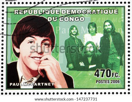 CONGO - CIRCA 2006: A postage stamp printed by CONGO shows image portrait of  famous English musician, composer, singer and songwriter Paul McCartney, circa 2006. - stock photo