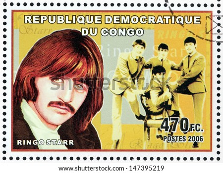 CONGO - CIRCA 2006: A postage stamp printed by CONGO shows image portrait of  famous English musician Ringo Starr, circa 2006. - stock photo