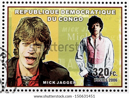 CONGO - CIRCA 2006: A postage stamp printed by CONGO shows image portrait of  famous English musician, composer, singer and songwriter Mick Jagger, circa 2006. - stock photo
