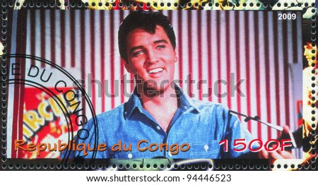 CONGO - CIRCA 2009: A stamp printed by Congo, shows Elvis Aaron Presley, circa 2009 - stock photo