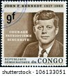 CONGO - CIRCA 1964: A stamp printed in Congo shows John F. Kennedy, circa 1964 - stock photo