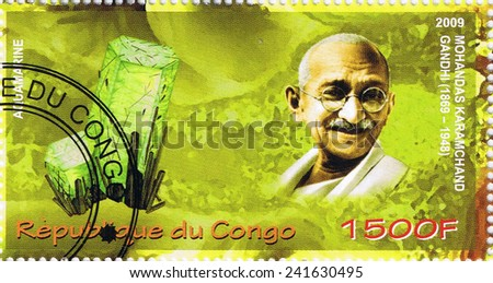CONGO - CIRCA 2009: A stamp printed in Congo shows Mahatma Gandhi, circa 2009 - stock photo
