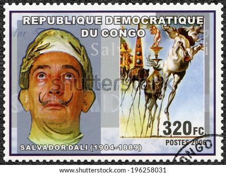 CONGO - CIRCA 2006: A stamp printed in Congo shows Salvador Dali (1904-1989), painter, circa 2006 - stock photo