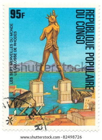 CONGO - CIRCA 1978: A stamp printed in Republic Congo shows The Colossus of Rhodes, series Seven Wonders of the Ancient World, circa 1978 - stock photo