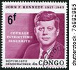CONGO - CIRCA 1964: A stamp printed in the Democratic Republic of the Congo, is dedicated to the anniversary of the death of U.S. President John Kennedy, circa 1964 - stock photo