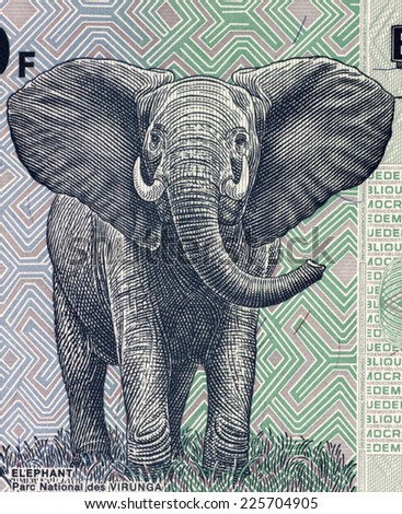 CONGO - CIRCA 2007: Elephant on 100 francs 2007 banknote from Congo. - stock photo