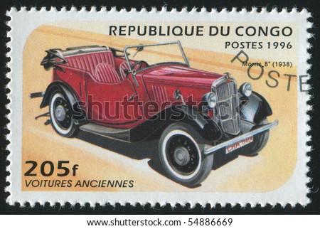 CONGO - CIRCA 1996: stamp printed by Congo, shows retro car, circa 1996. - stock photo