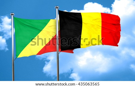 Congo flag with Belgium flag, 3D rendering