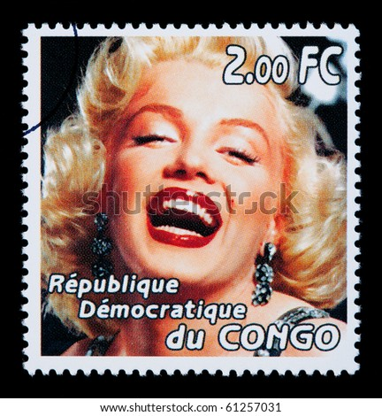 CONGO REPUBLIC - CIRCA 2005: A postage stamp printed in the Republic of Congo showing Marilyn Monroe, circa 2005 - stock photo