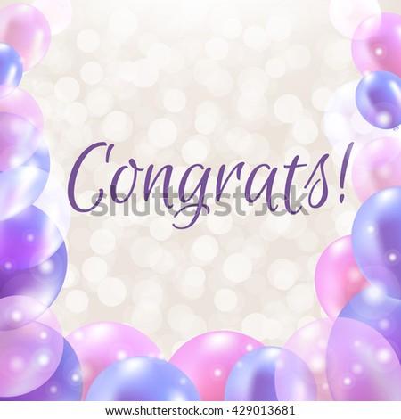 Congrats Card With Balloons  - stock photo