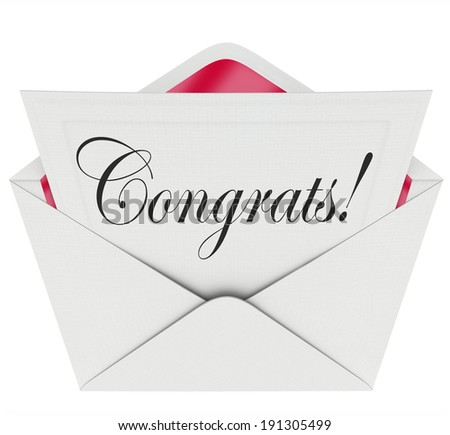 Congrats Word Letter Card Note Congratulations Praise - stock photo