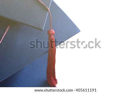 Congratulated the graduates in University on isolate background. - stock photo