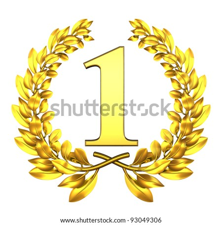 Congratulation one Golden laurel wreath with number one inside - stock photo