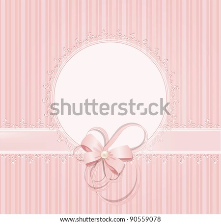 congratulation pink background with lace, ribbons, bows (JPEG version) - stock photo