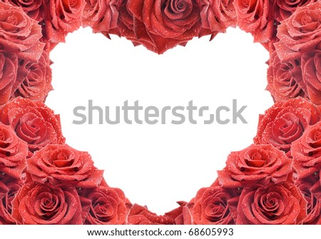 Congratulation's card with red roses - stock photo