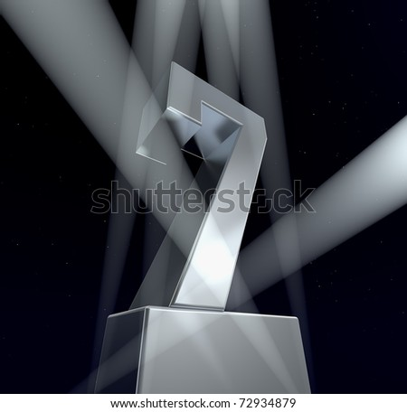 Congratulation seven Number seven in silver letters on a silver pedestal
