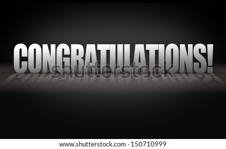 Congratulations 3D Letters on Dark Black Background Stage - stock photo