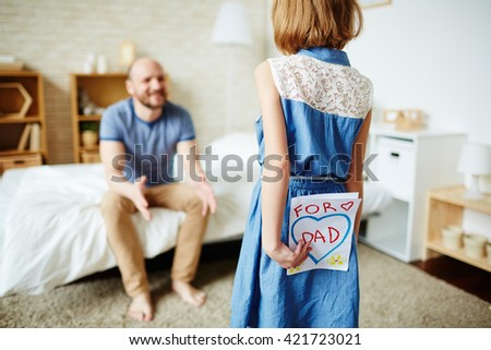 Congratulations from daughter - stock photo