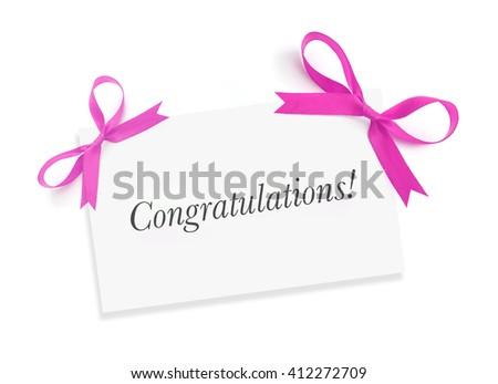 Congratulations on white - stock photo