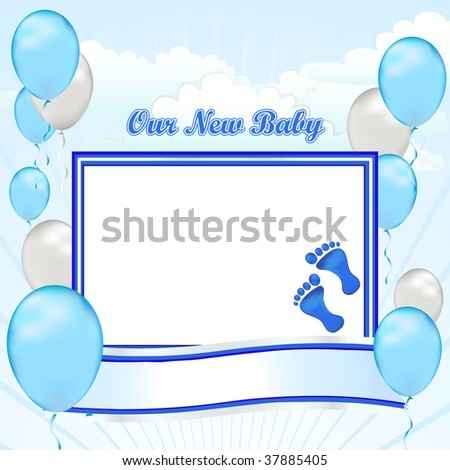 Congratulations on your new baby boy. Create your first scrapbook page with this simple banner template. - stock photo