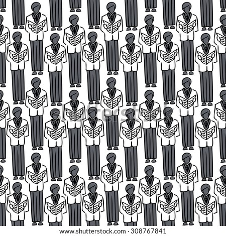 Congregation. Abstract seamless image of business people in a full-length open folders. Male choir open songwriters. Men in Black. Crowd of business men. Conference. Congress - stock photo
