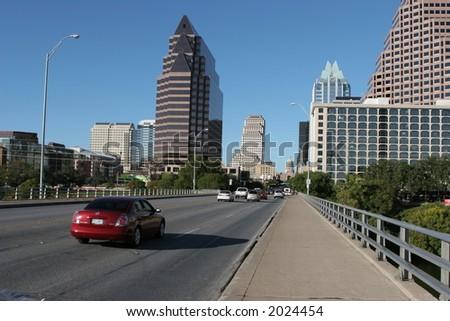 Congress Avenue at the Bat Bridge in Austin, Texas - stock photo