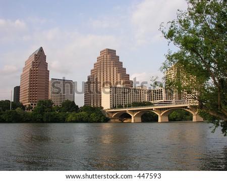 Congress Avenue Bridge in downtown Austin, Texas - stock photo