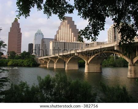 Congress Avenue Bridge to downtown Austin, Texas - stock photo