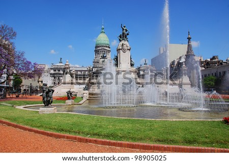 Congressional Plaza is a public park facing the Argentine Congress in Buenos Aires Argentina. The plaza is part open space comprising 3 adjoining plazas to the east of the Congress building - stock photo
