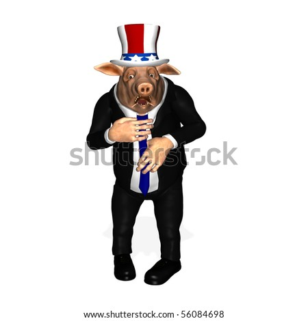 Congressional Pork - Adjusting Tie. Congressman adjusting his tie after getting caught.  Political humor. Isolated on a white background.
