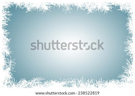 Coniferous branch needles white silhouette frame border with blue white inner blow background - winter background - illustration