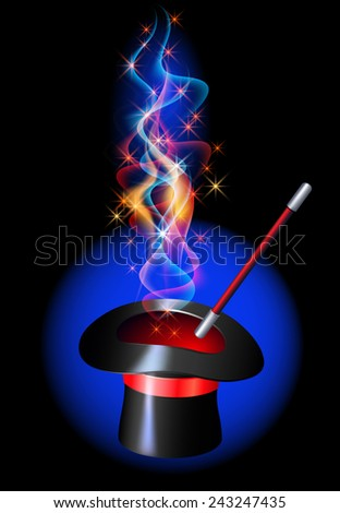 Conjurer hat with magic wand and blazing red fire - stock photo
