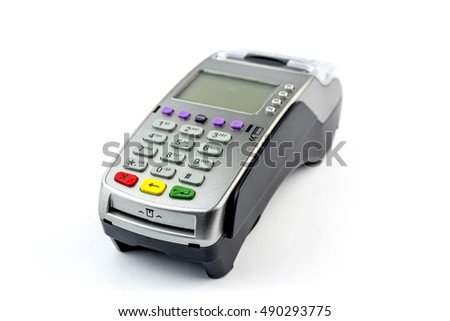Connect Card Payment terminal / edc isolated on white. Front panel texture for your object