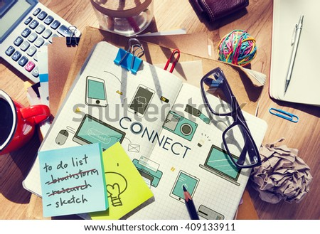 Connect Connection Devices Technology Communication Concept - stock photo
