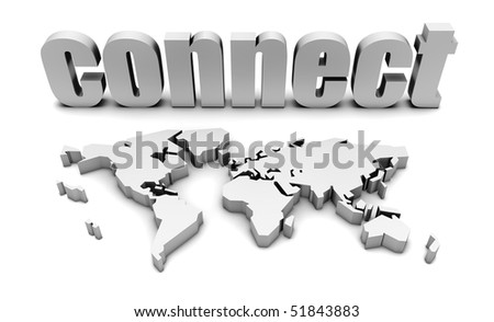 Connect Globally with a Worldwide Web Map - stock photo