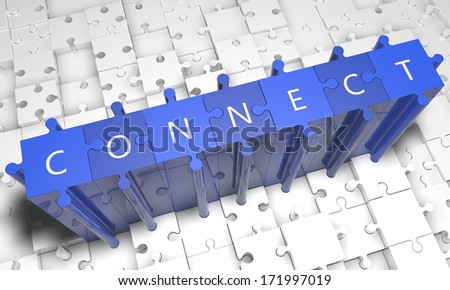 Connect - puzzle 3d render illustration with text on blue jigsaw pieces stick out of white pieces