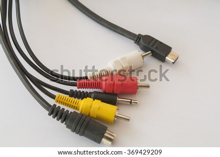 connect the camcorder to the television cable  - stock photo
