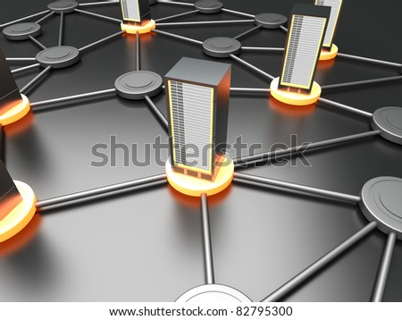 Connected cloud of 19 inch server towers. 3D rendered illustration. - stock photo