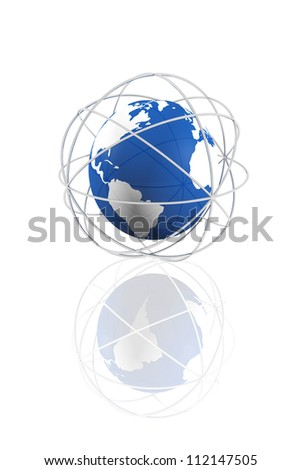 Connected global world icon - stock photo