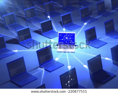 Connected laptops on blue reflective background. - stock photo