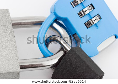 Connected locks - on white background