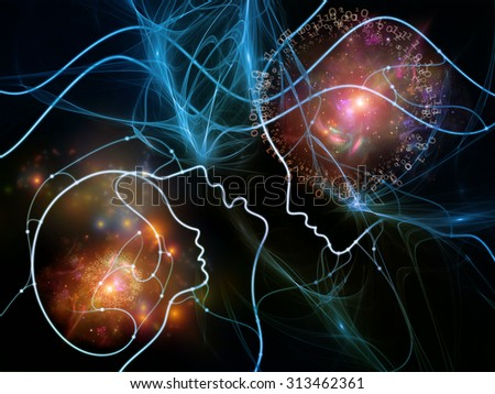 Connected Minds series. Arrangement of human profiles, wires, shapes and abstract elements on the subject of mind, artificial intelligence, technology, science and design - stock photo