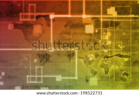 Connected Network System Worldwide Technology as Art - stock photo